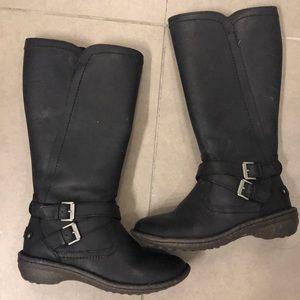 ugg black rubber zip up boot